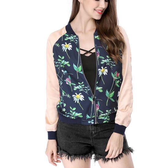 0b8e0a1b2 2019 New Designs Women′s Contrast Color Zip up Floral Bomber Jacket  Wholesale