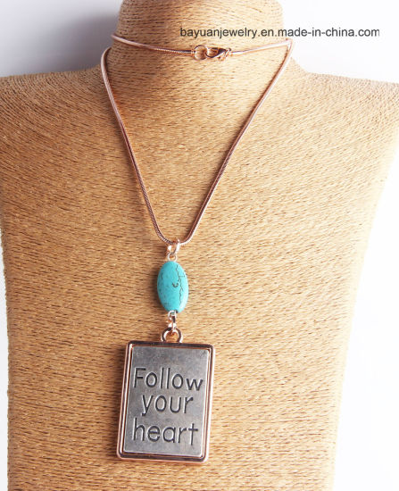 Fashion Silver Large Hammered Antique Silver & Rose Gold Plating Turquoise Stone Pendant Necklace, Stamped Pendant Necklacefallow Your Heart