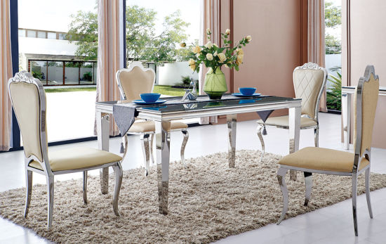 Modern Dining Room Tempered Glass Top Dining Table With Chairs