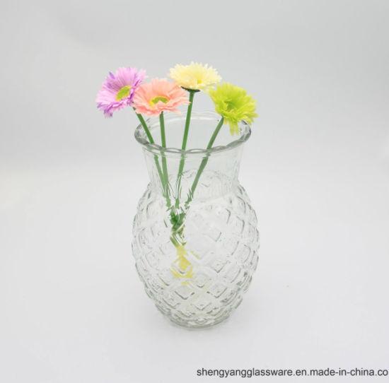 China Hot Sell Pineapple Shape Glass Flower Vase Glass Vase For