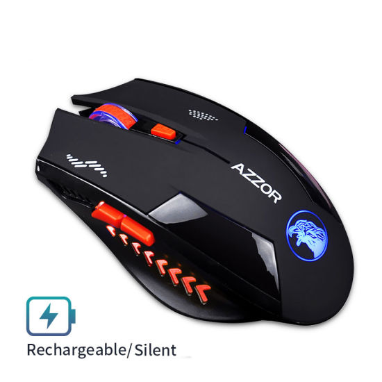 ... Noiseless Wireless Mouse Optical Mouse Gaming Silent USB Rechargeable Mice 2400dpi Built in Battery for PC
