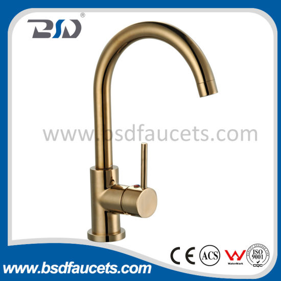 Exquisite Copper Single Handle Gooseneck Golden Plated Kitchen Faucet pictures & photos
