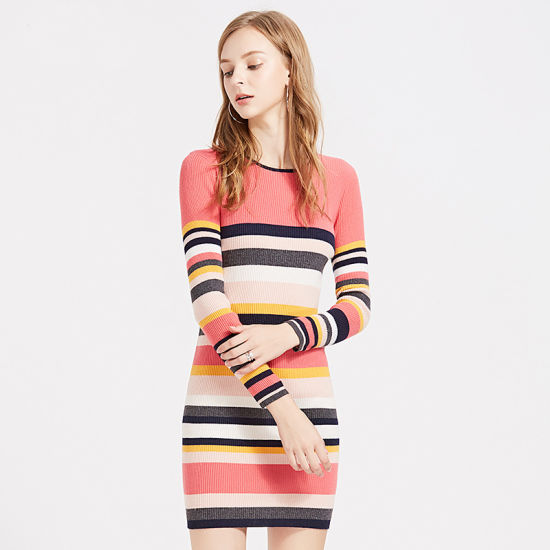 09a25dfa98a China New Women′s Knitted Sweater Dress Multi-Colors Strip Pullover ...