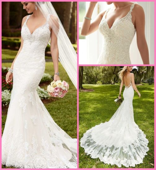 China Halter Lace Bridal Gown Mermaid Beads Backless Wedding Dress