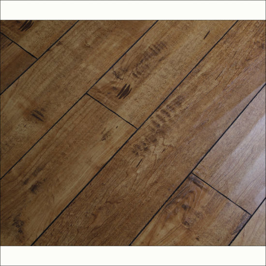 12mm Brushed Grain Handsed Hdf Laminate Flooring With V Groove