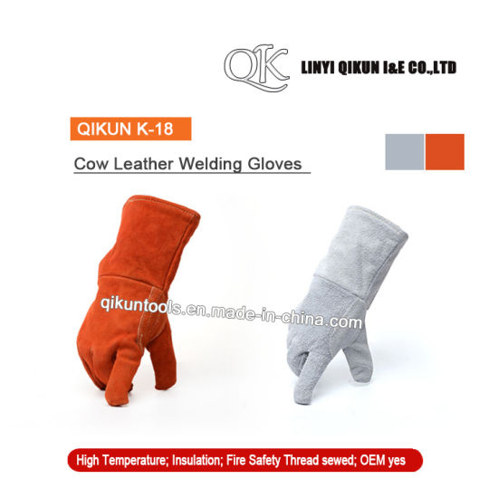 K-18 Orange Gray Working Safety Full Cow Split Leather Welding Gloves