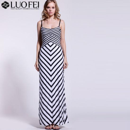 China Lady Designer High Quality Chevron Dress of Eyelet Striped ...