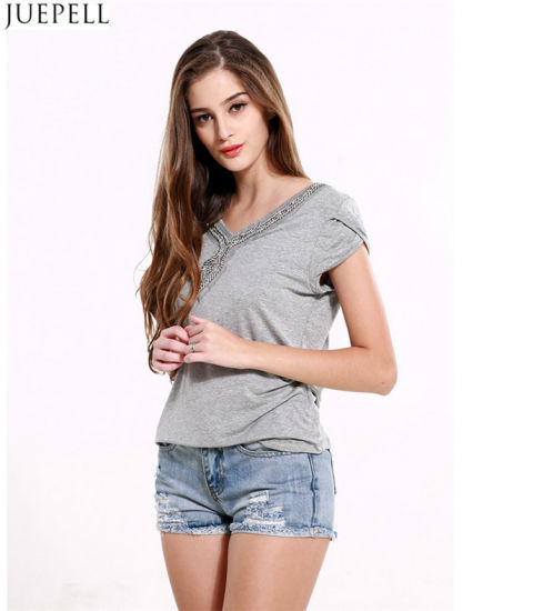 aa6935e2dba 100% Cotton Summer New Women Short Sleeve T-Shirt Solid Color Big Size Loose  Casual V-Neck Lady Beaded T-Shirt