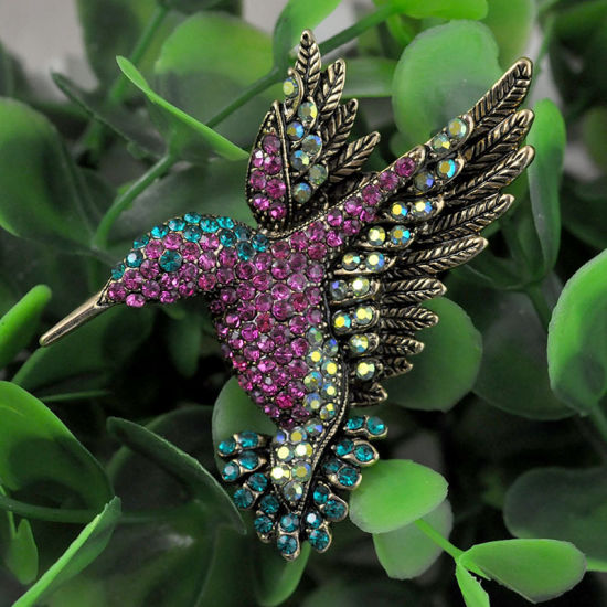 Rhinestone Fantasy Colorful Bird Silver Plated Brooch pictures & photos