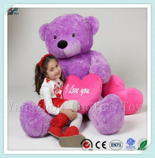 Children Day Gift Purple Stuffed Huge Size Bear Lavender Plush Bear with Heart