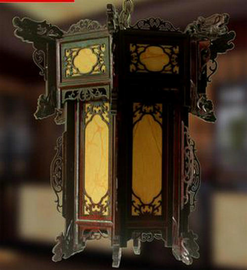 Antique Chinese Wooden Carved Lantern