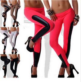 New Designed Women Faux Leather Trim Stretch Leggings