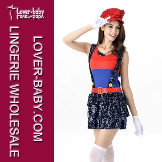 Adult Girls Halloween Mario and Luigi Costume (L15334-1)  sc 1 st  Tianyi Sexy Lingerie Co. Ltd. & China Adult Girls Halloween Mario and Luigi Costume (L15334-1 ...