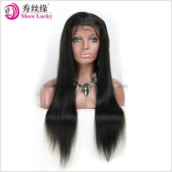 Cheap Best Quality Wholesale Unprocessed Natural Hair Line Virgin Remy Indian Human Hair Glueless Full Lace Wig Lace Front Wig for Women pictures & photos