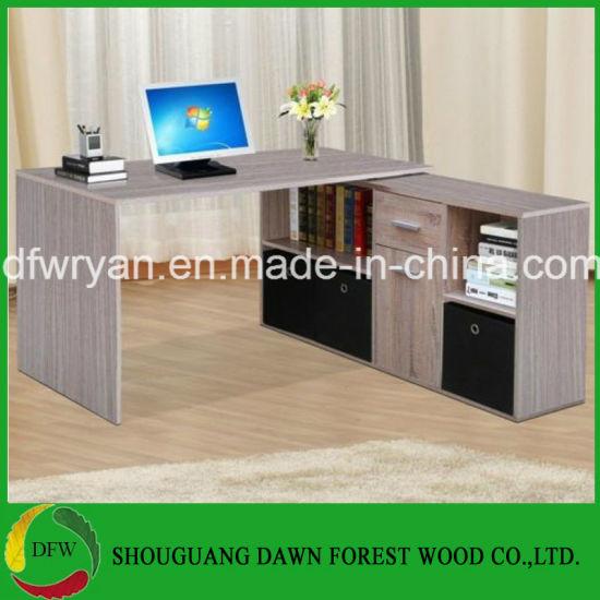Large Corner Computer Desk With Storage Cabinet Drawer Oak Finish