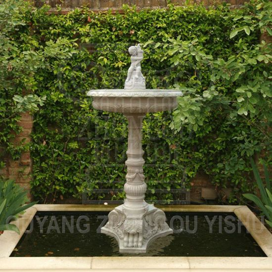 Cherub And Dolphin Statue Marble Stone Granite Small Water Fountain For Garden Decoration