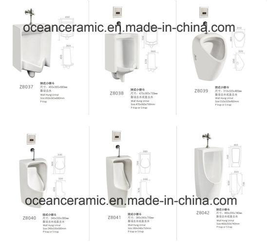 China Ceramic Wall Hung Urinal Top Spud Installation No D15