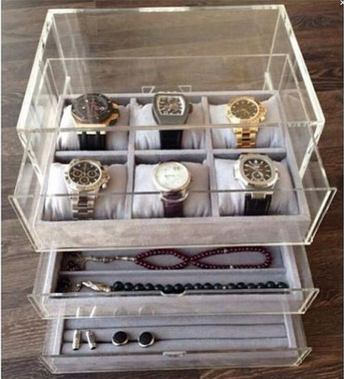 China Acrylic Jewelry Drawer with Velvet Tray Jewelry Box and