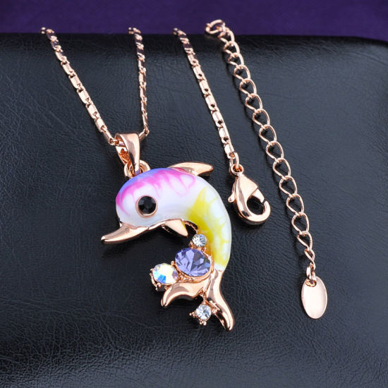 Fashion Cute Style Fish Design Enamel Crystal Gold Necklace pictures & photos