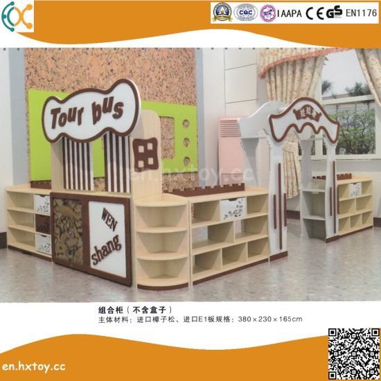 2018 Latest Preschool Wooden Toy Shelf for Children