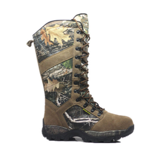Camouflage Fabric with Cow Suede Leather Upper Battle Boots for Soldier