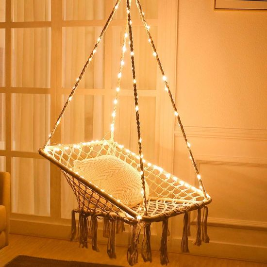 Hammock Chair with LED Lights - Cotton Square Shape Marame Swing Chair for Patio Bedroom Balcony