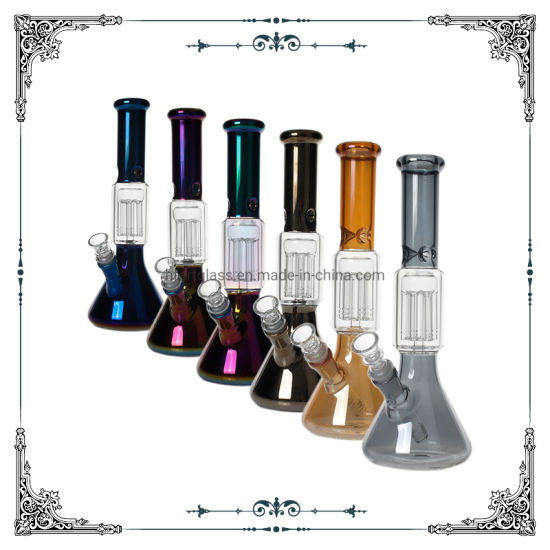 12 Inches Electroplated Glass Beaker Hookah 6 Arms Perc Glass Smoking Ion Water Pipe pictures & photos