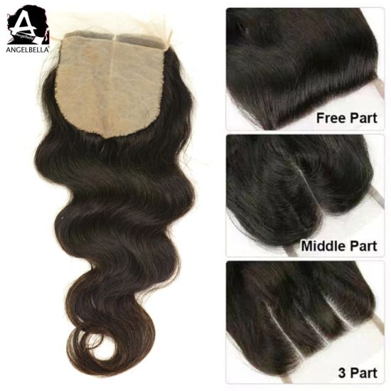 Angelbella Wholesale Brazilian Silk Base Closures 4X4 Body Wave Human Hair Closure