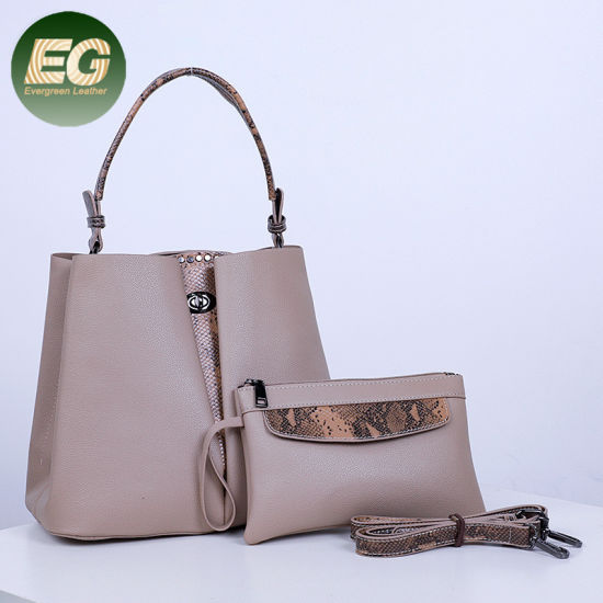 Simple Fashion Ladies Bag Set of Handbags Snake Print Women Tote Handbag Sets with Purse Sh1154 pictures & photos