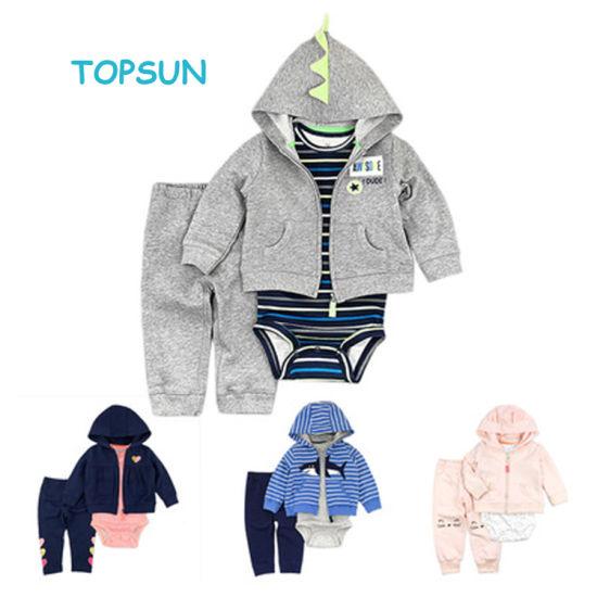 Hot Sale 100% Cotton Fashion Winter & Autuam 3 Pieces Set Baby Clothes