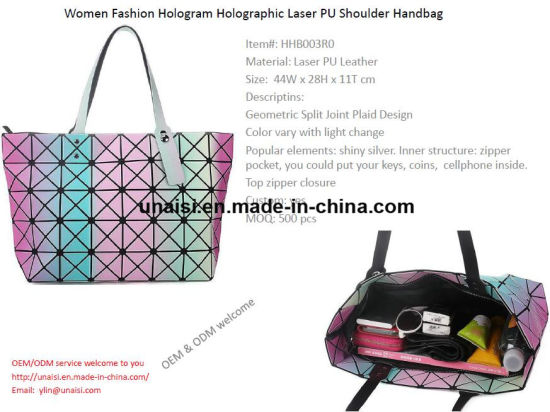 bd88e75490de China Colorful Hologram Laser PU Leather Tote Handbags for Women ...