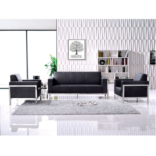 Stainless Steel Frame Black Leather Office Sofa