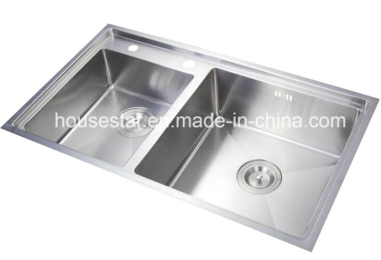 Double Bowl Stainless Steel Handmade Kitchen Sink (SY8047Z)