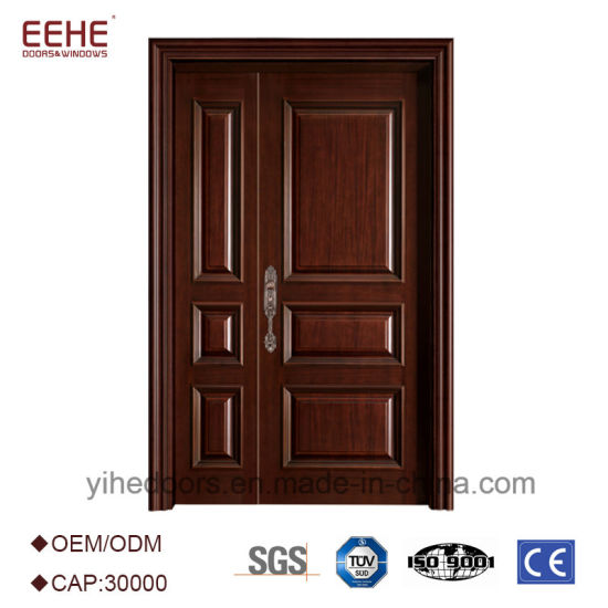 China Exterior Wooden Entry Doors Wood Door French With Unequal