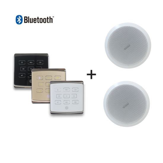 2-Channel 25W PA Home Audio Background Music System in Wall Mounted Amplifier with 2 Pieces 6'' in Ceiling Speakers and Remote Control, Support Bluetooth/USB/TF