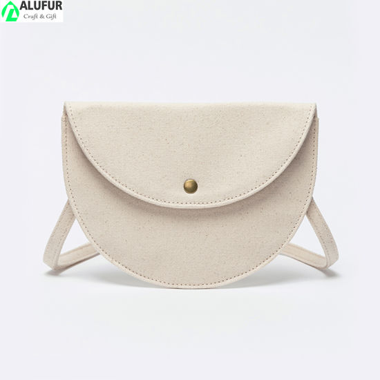 Eco Friendly Half Moon Cotton Sling Bag Phone Pouch