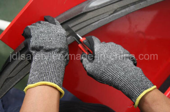 Pd8045 Hppe Shell PU Coated Cut Resistant Safety Glove