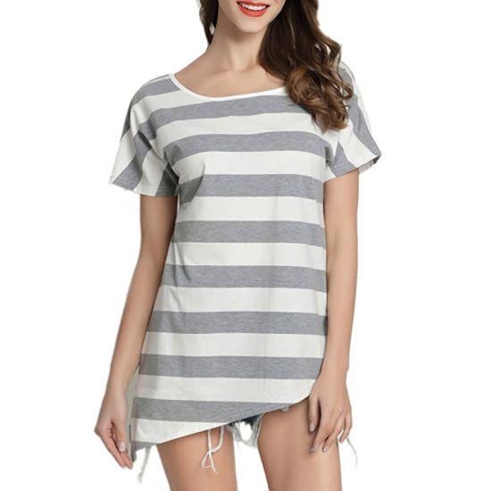 Women Summer Shirt Color Striped Crewneck Short Sleeve Cotton Casual Tee Tops T-Shirt