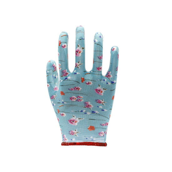 Flower Design PU Coated Safety Gloves Garden Wokr Gloves Women Gloves/Working Gloves
