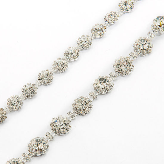 Metal Trim Chain with Crystal Stones