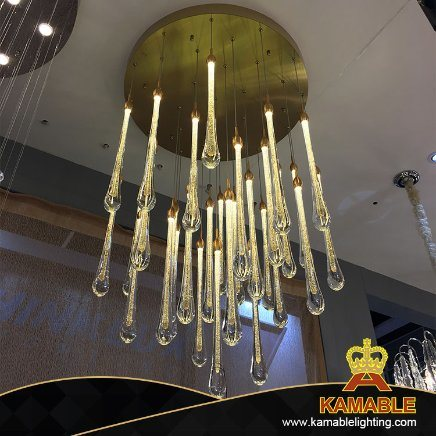 Hotel Lobby Luxury Modern Decorative Ceiling Glass Chandelier Light (KAP800)