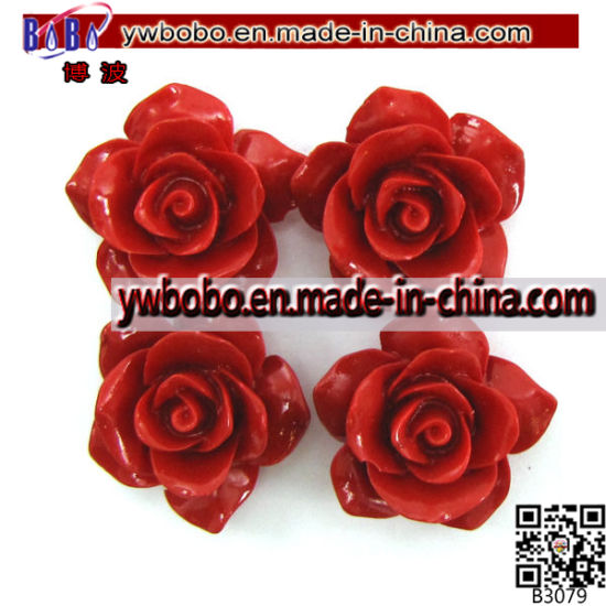 Synthetic Coral Carved Rose Flower Pendant Garment Accessory (B3079)