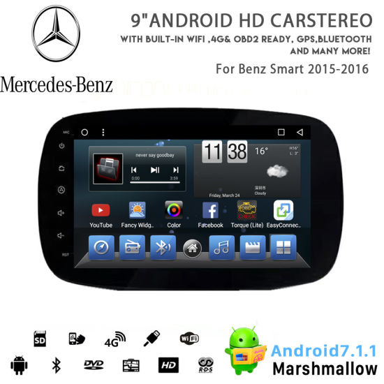 Vshauto Eight-Core Android 8.1 Car DVD Player for Benz Smart 2015 2016