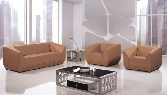 Tan Light Brown Color Corner Pure Leather Sectional Modern Style Sofa Set