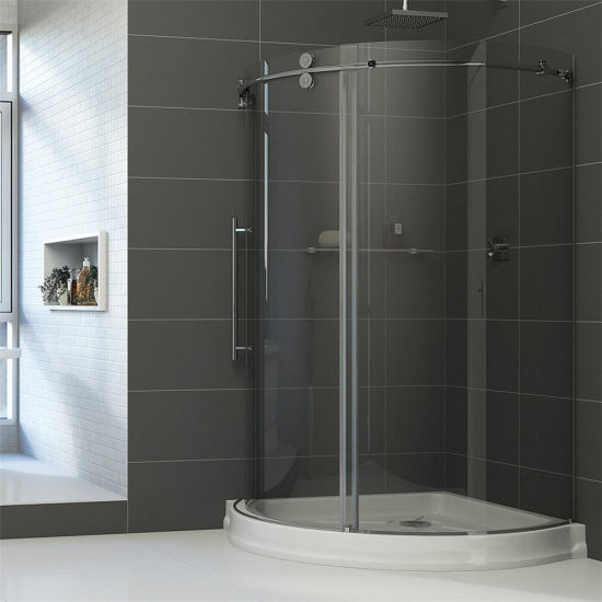 Frameless Round Sliding Shower Enclosure with 10mm Clear Glass and Stainless Steel Hardware