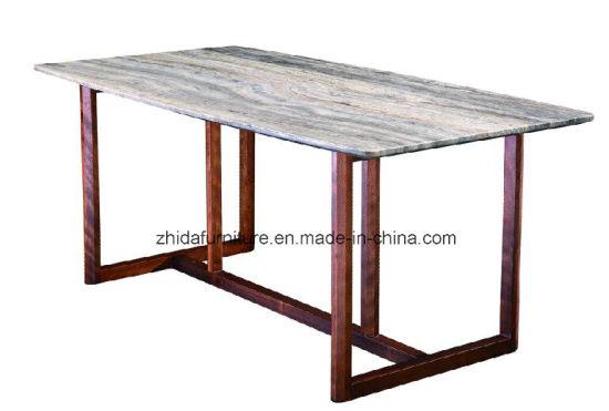 Italian Design Home Furniture Nature Marble Wood Dinner Table