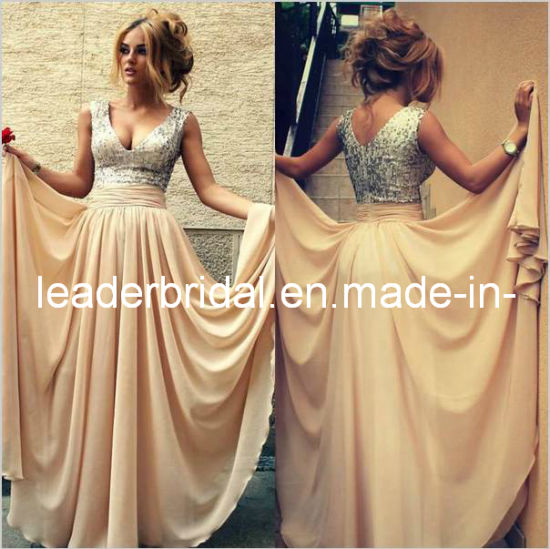 b07379da2ced Champagne Chiffon Bridesmaid Dresses Silver Sequins V-Neckline Wedding  Bridal Party Prom Evening Dresses B14624