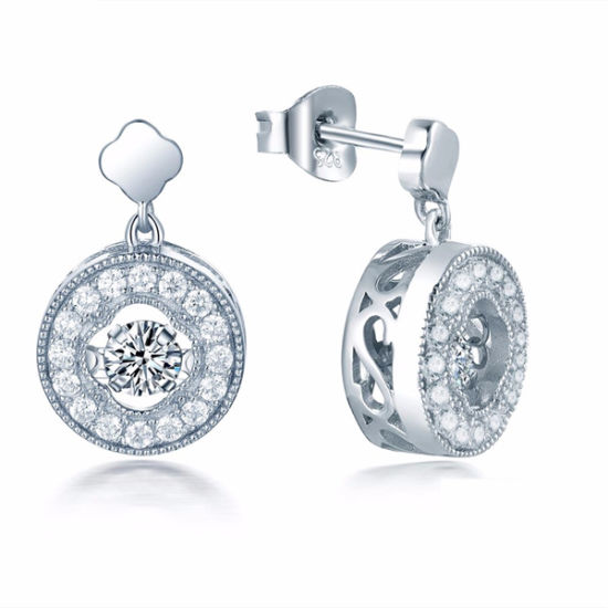 Circle Dangle Earrings with Full Stone Diamond 925 Silver Jewelry pictures & photos