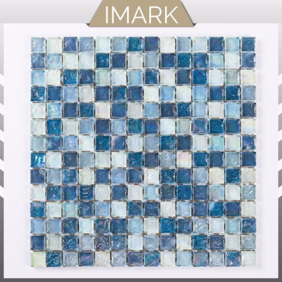 Hot Sale Ocean Blue Swimming Pool Iridescent Glass Mosaic Tiling
