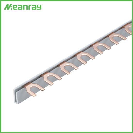 1p Terminal Block Connector Copper Busbar with U or Fork Type for MCB 50A